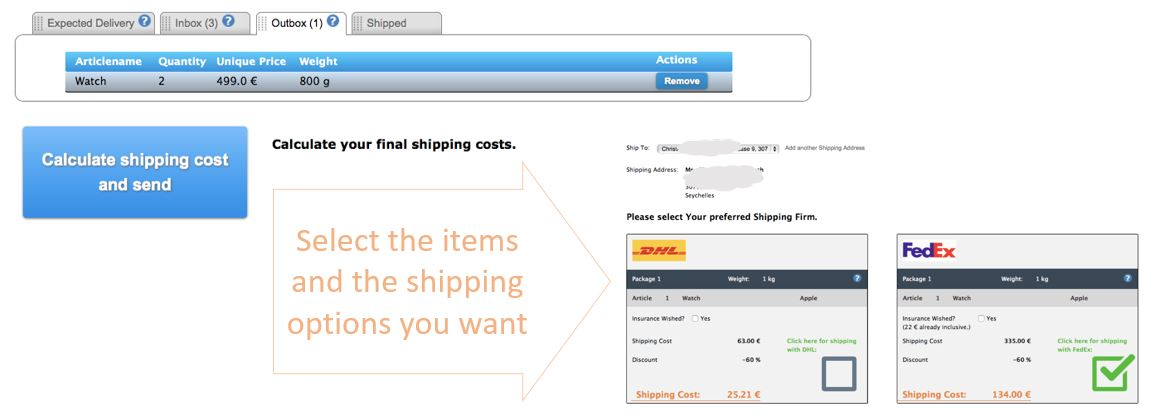 In the Outbox you select the shipping address and shipping methods