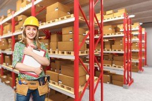 Happy employee within myGermany warehouse ready to execute Forwarding Services